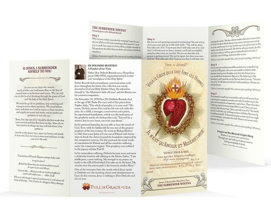 image about Surrender Novena Printable identify The Surrender Novena Trifold Holy Playing cards - Unique Wallet