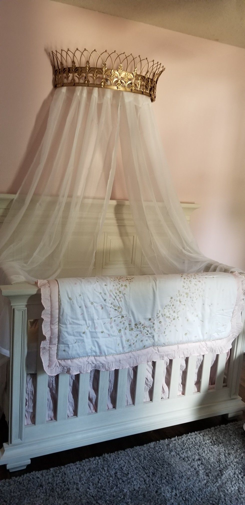Crown With Sheers Baby Girl Crib Teester Baby Canopy Nursery Ideas Gold Crown Baby Girl Room Ideas Crib Canopy Canopy Bedroom Canopy Over Bed