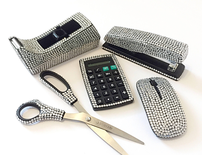 Silver Bling Bedazzled Stapler Calculator Tape Dispenser Scissors Desk Office Supply 5