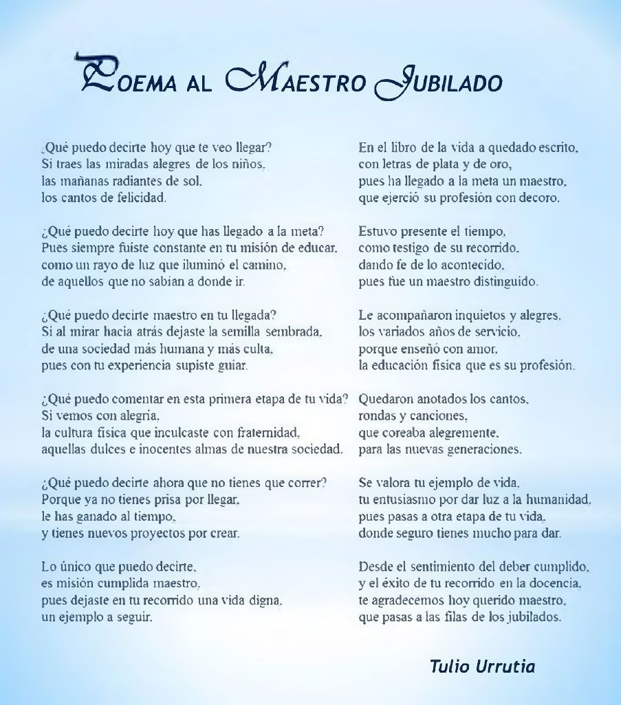 Poema Al Maestro Jubilado Poema Al Maestro Poesia Al