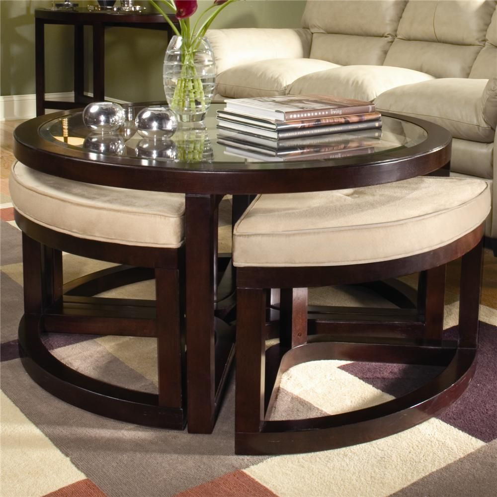 Juniper Tail Table With Four Ottomans By Magnussen Home