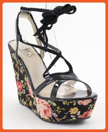 fab8ef3070b1 Braided Floral Print Strappy Black Wedge Sandal (6) - Pumps for women  ( Amazon Partner-Link)