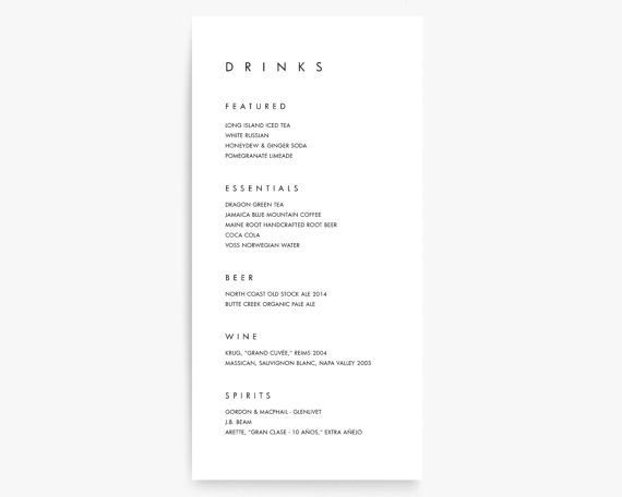 Drink Menu Menu Cards Wedding Drink Menu Wedding Bar Menu