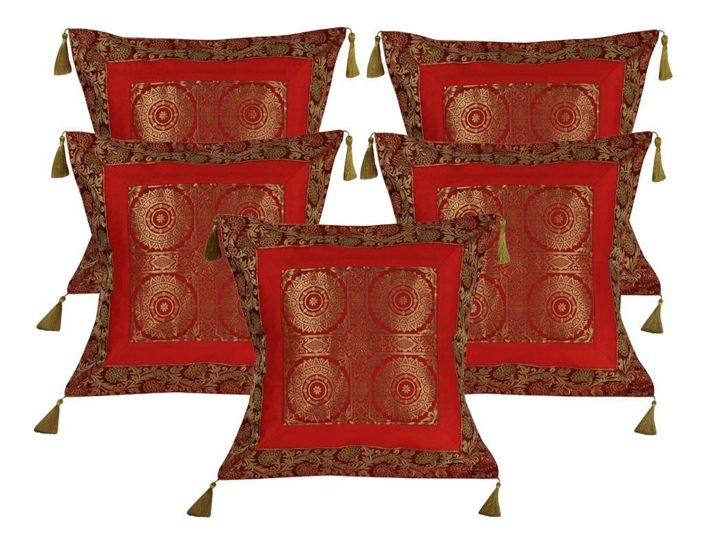 Decorative Elephant Cushions Brocade Black Indian Pillow Covers Set of 5 PCS