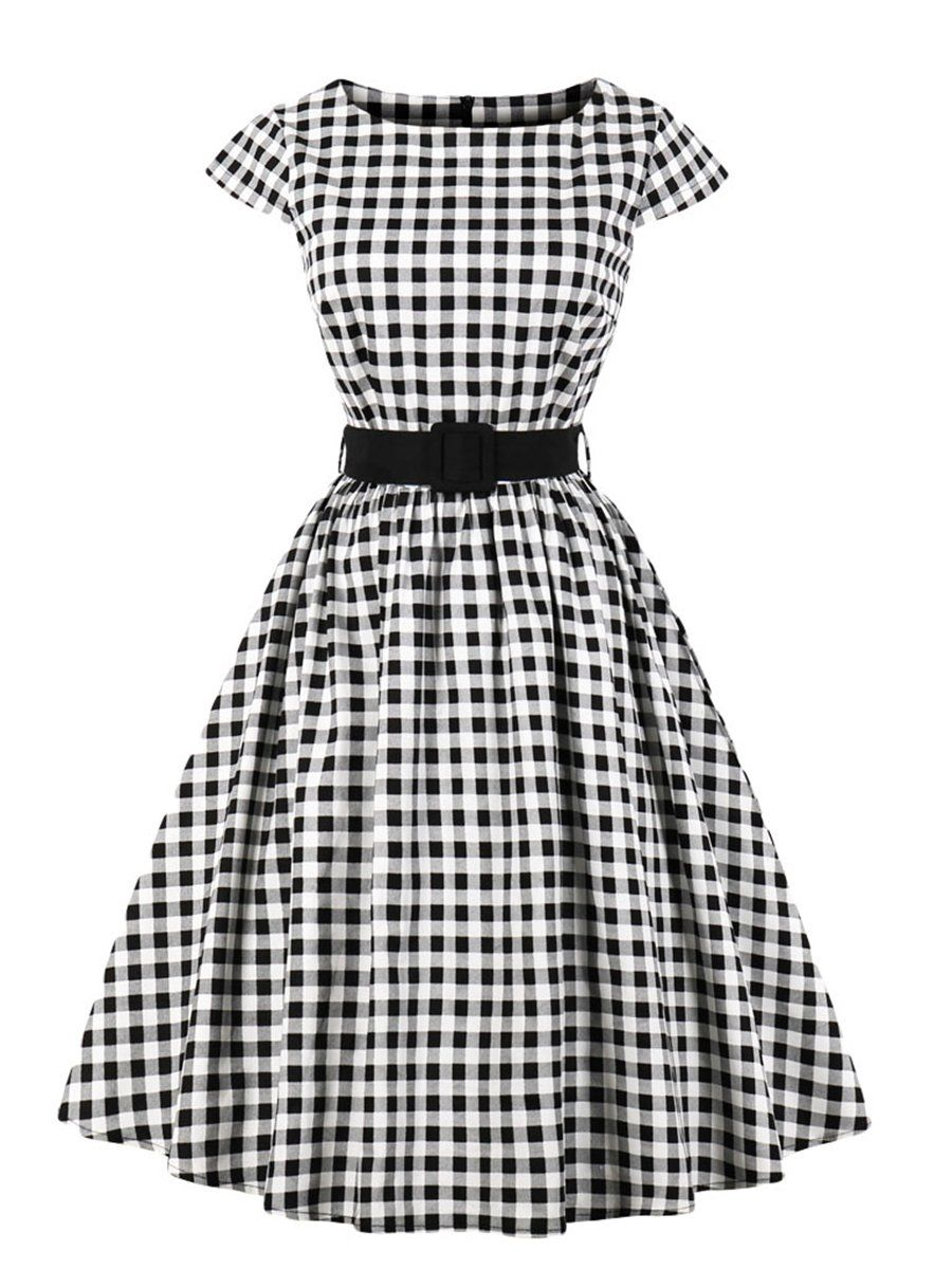 Aline Dress Polka Dot Vintage Style Dress For Women Black