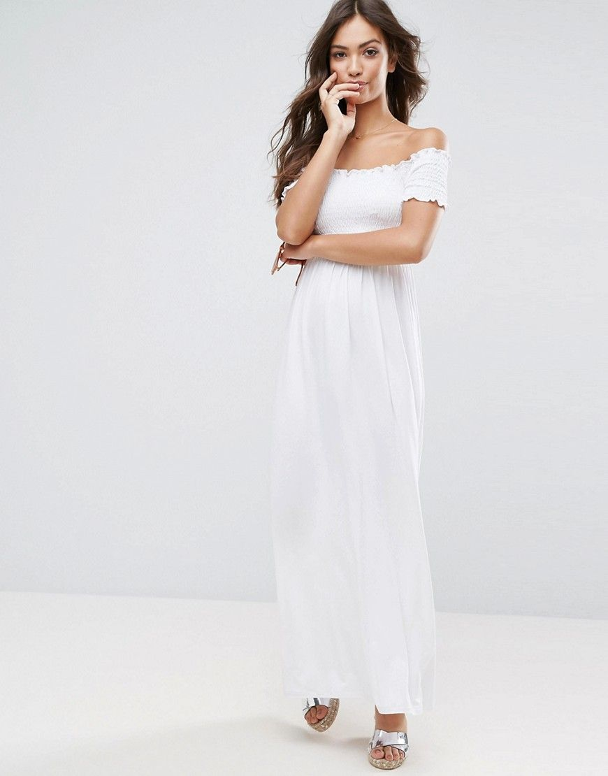 18be79d83c5c9 ASOS Off Shoulder Maxi Sundress with Shirring - White