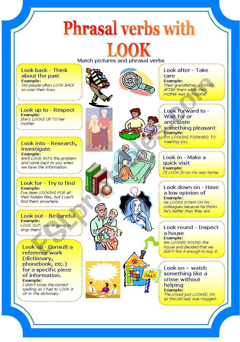 Phrasal Verbs With Look 2 Pages Verb English Teaching Resources Idioms And Phrases [ 1169 x 821 Pixel ]