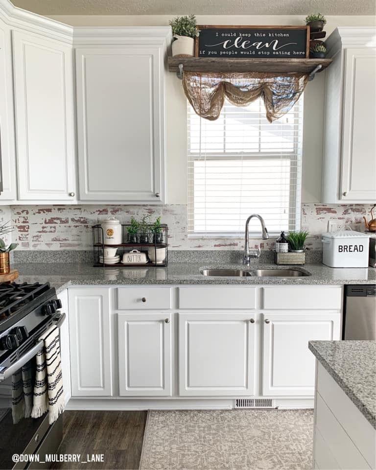 20 Ideas For Grey Kitchens Both: White Washed Brick Backsplash