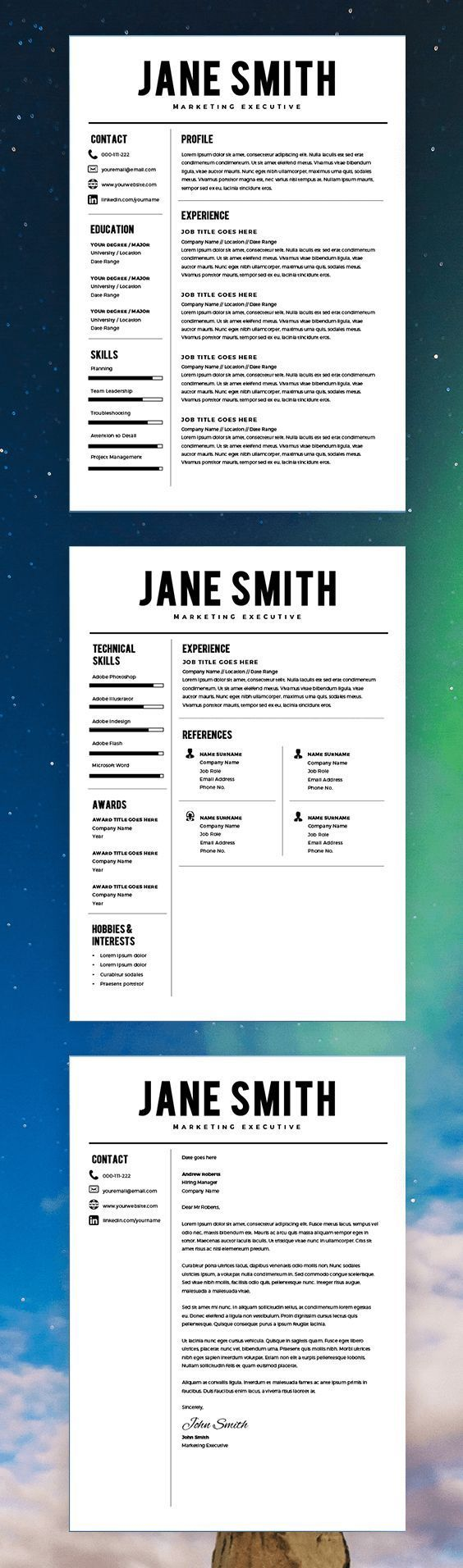 Best Resume Template - CV Template - Free Cover Letter - MS Word on ...