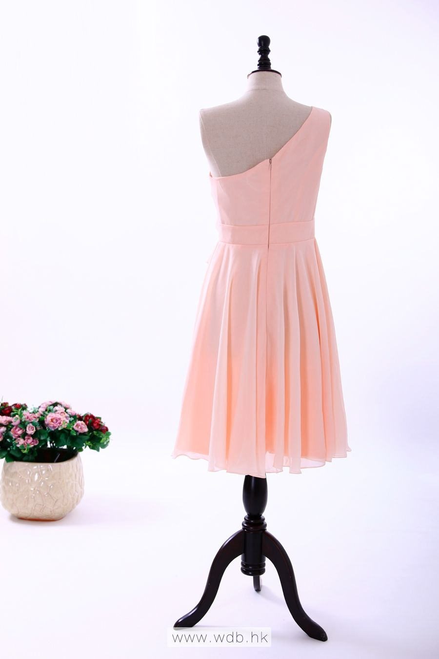 """""""One Shoulder Chiffon Dress with Flower and Flounce Detail $117.98"""""""