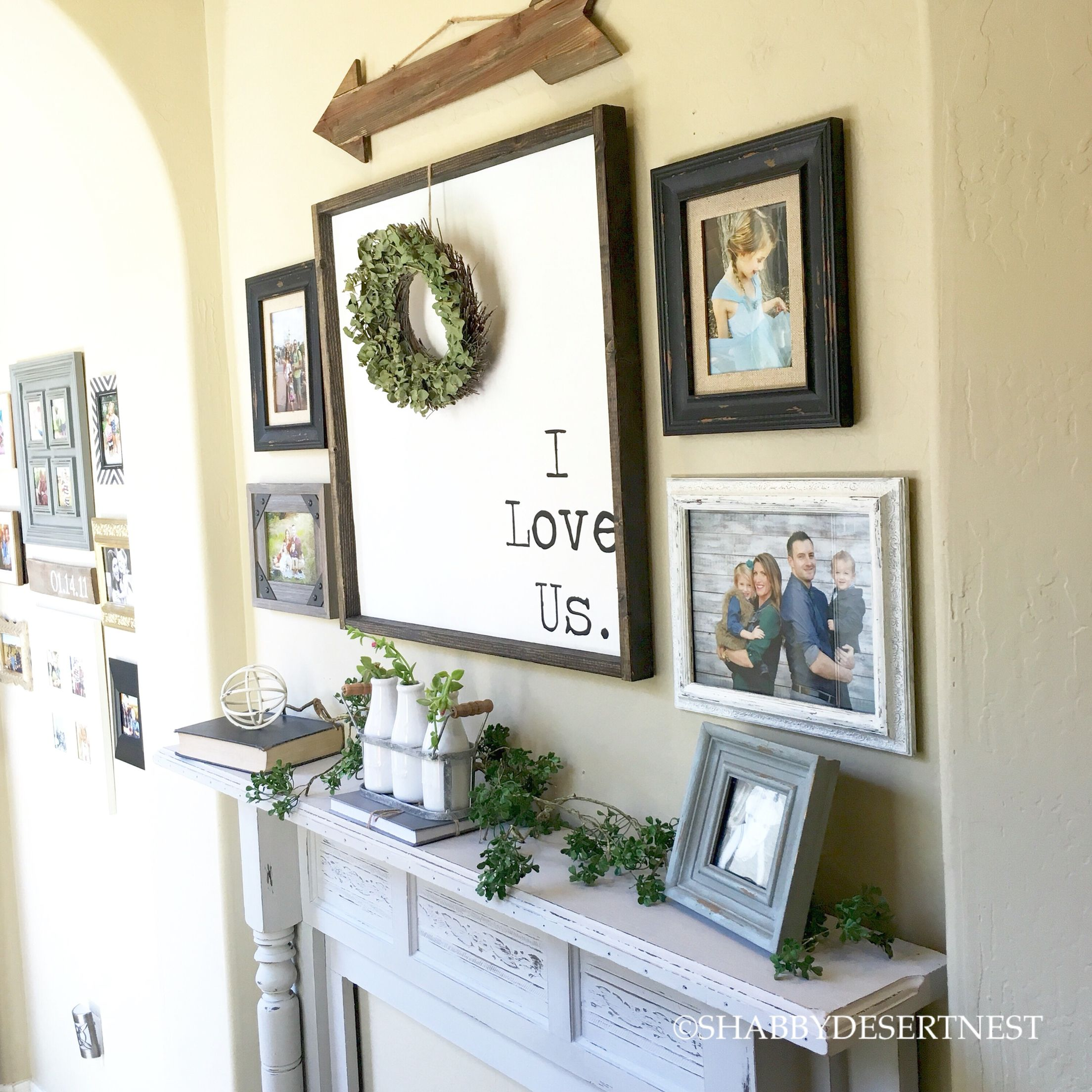Gallery wall with antique mantel | Jaci @shabbydesertnest on ...