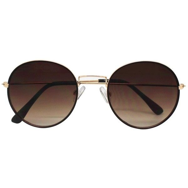 ed4c9546ea Women s Round Sunglasses - Brown Gold   Target ( 17) ❤ liked on Polyvore