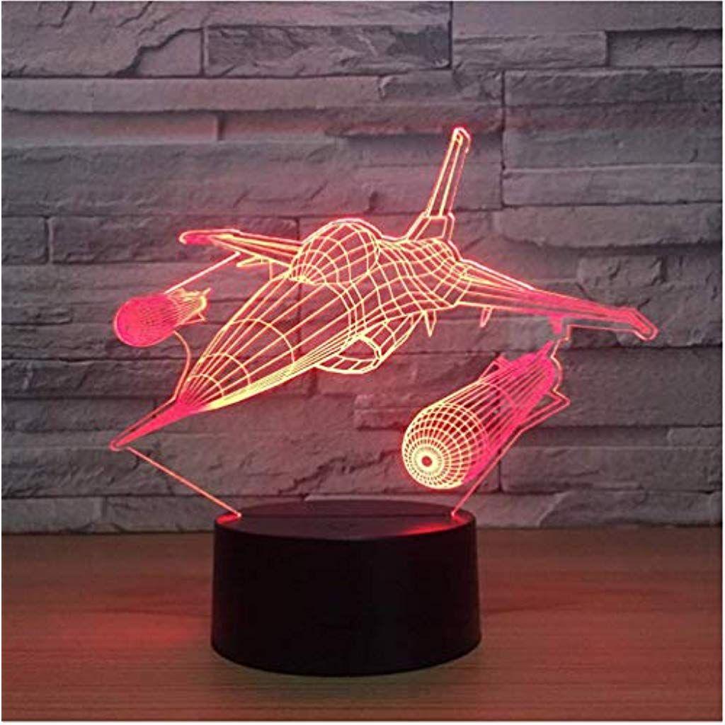 3d Led Illusion Lampe Kampfflugzeug Nachtlicht Tisch Multi Farben Jet Flugzeug Mit Usb Power Decor Geburtstag Urlaub Jahr D Nachtlicht Nachtleuchte Lampentisch