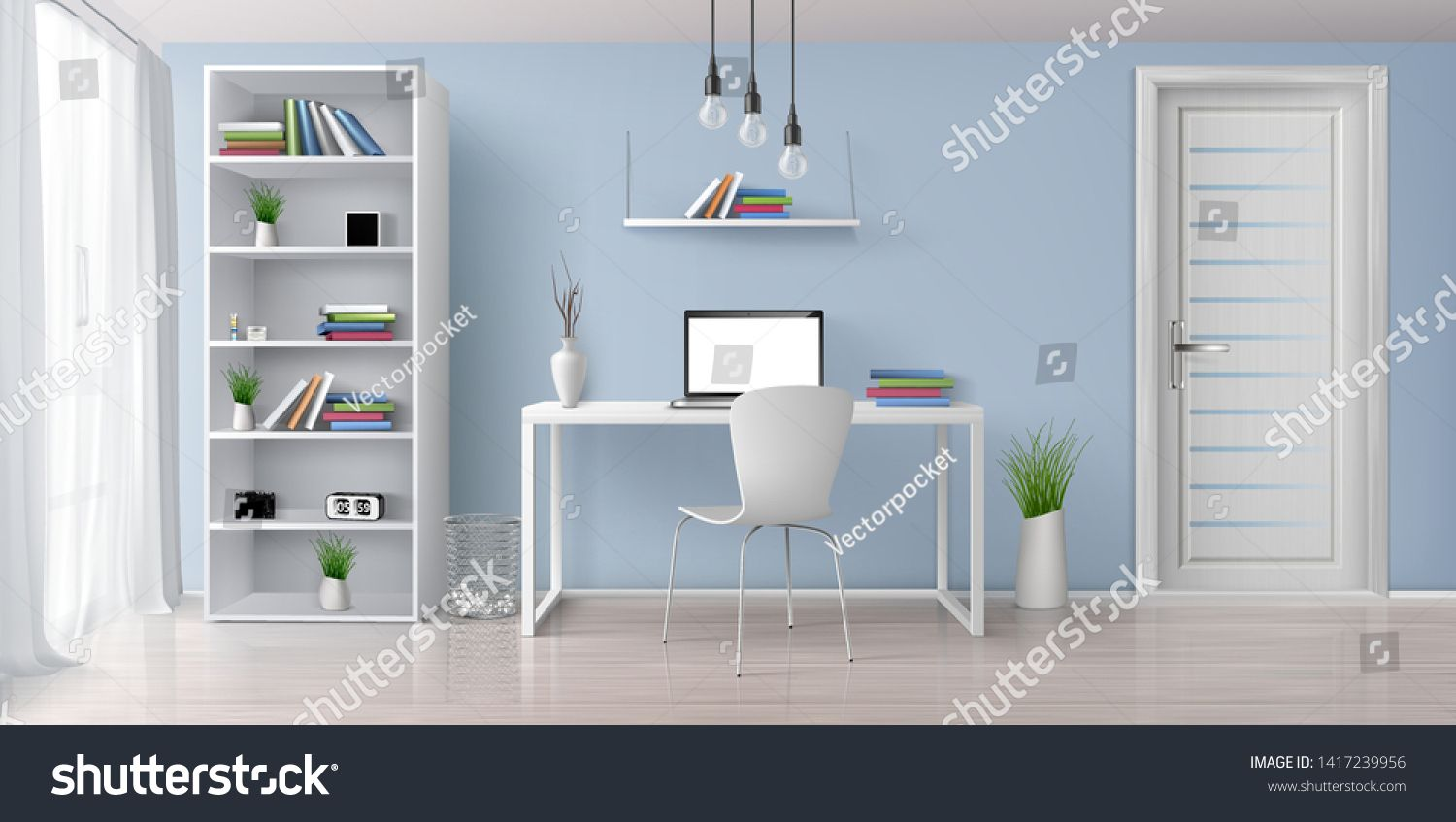 Home Office Sunny Room With Simple White Furniture 3d Realistic