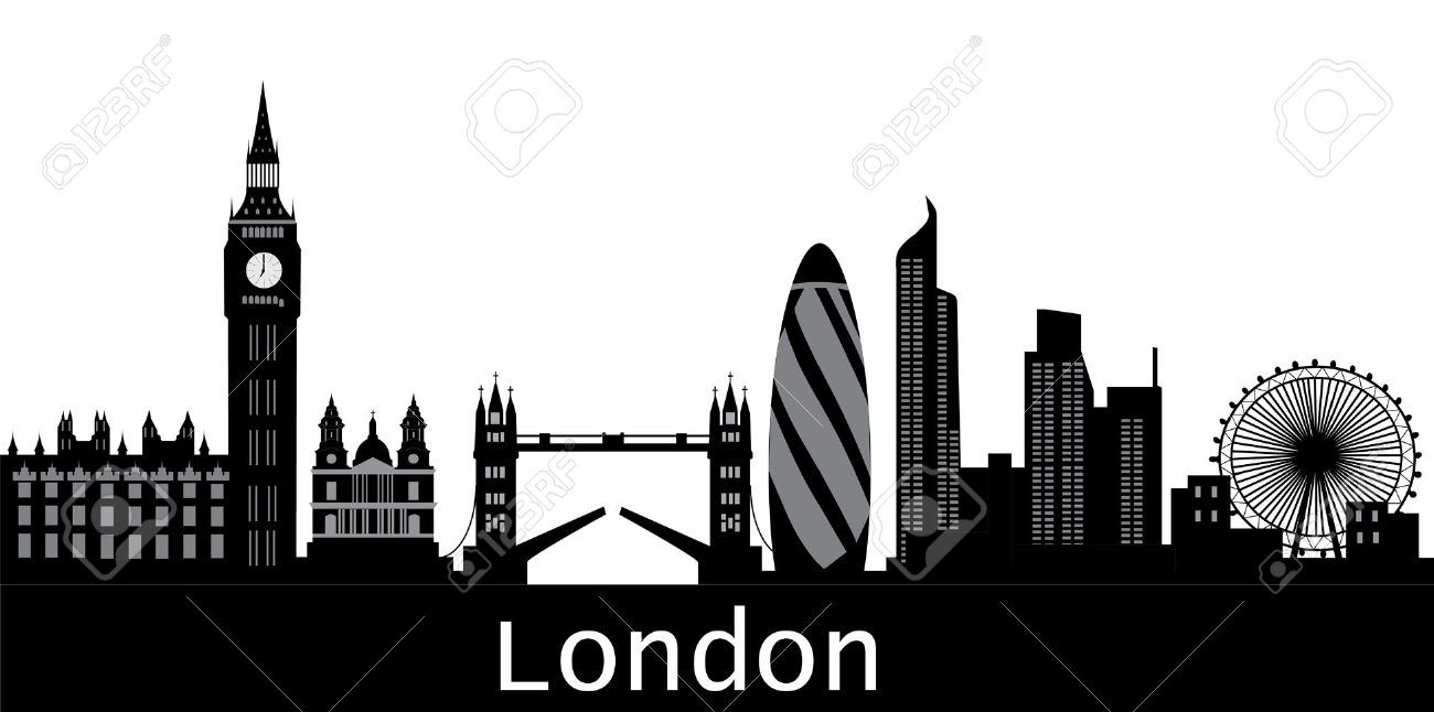 london skyline with text city royalty free cliparts. Black Bedroom Furniture Sets. Home Design Ideas