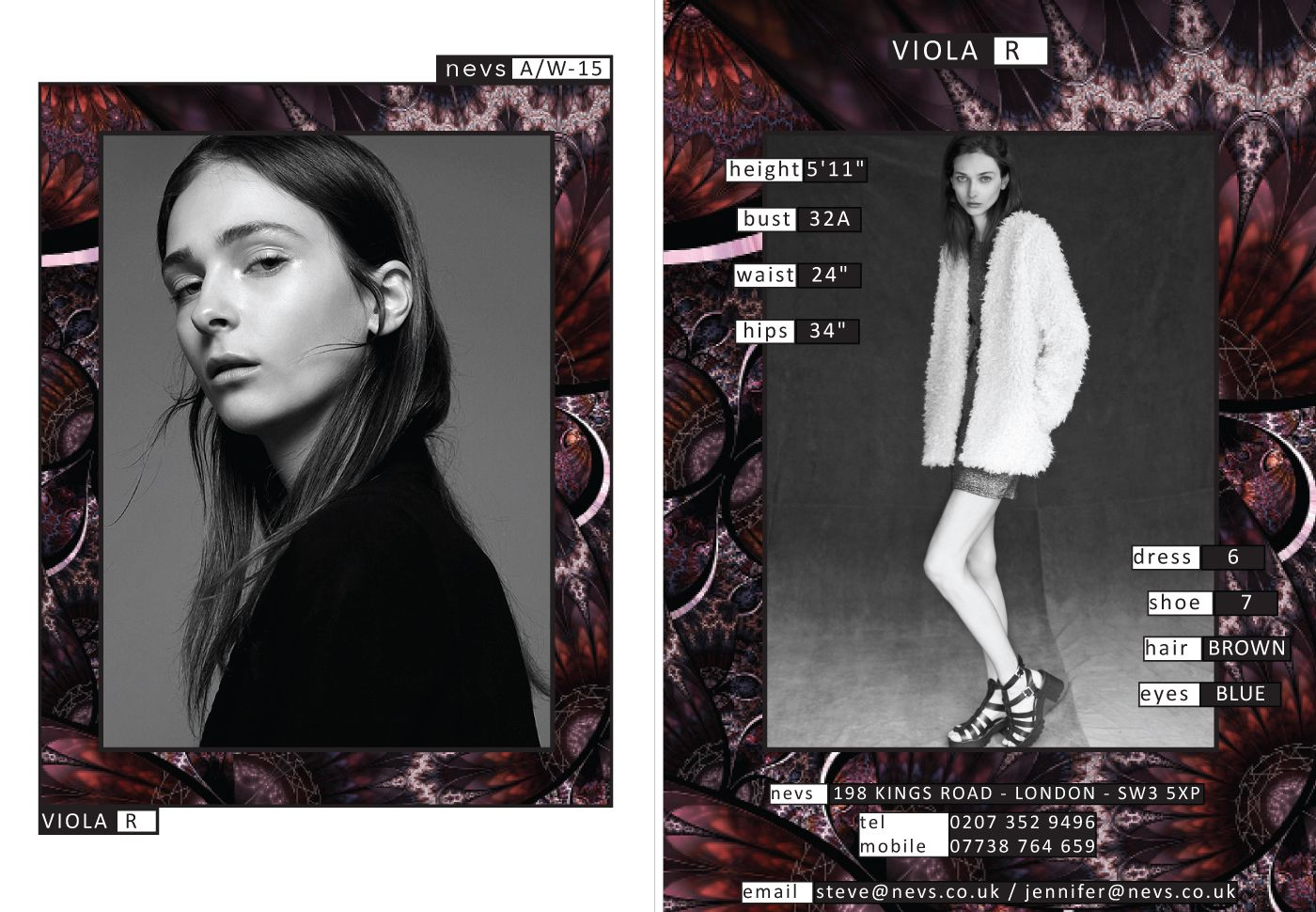 Viola AW15 show card. #London #AW15 #LondonFashionWeek #LFW #models #girls #runway #nevsshows #nevswomen