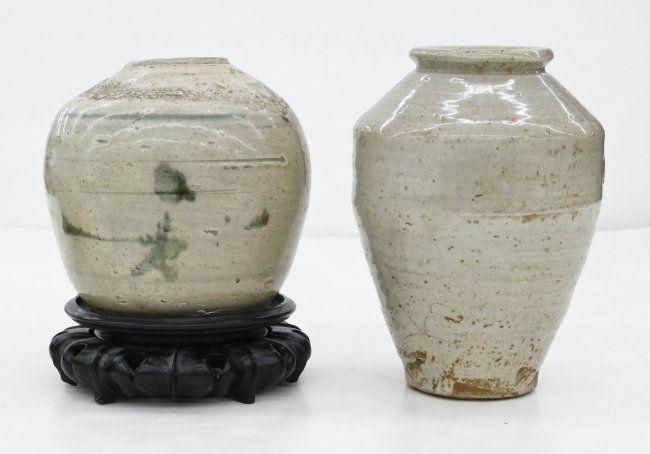 2pc Antique Chinese Stoneware Storage Jars. They : Lot 60