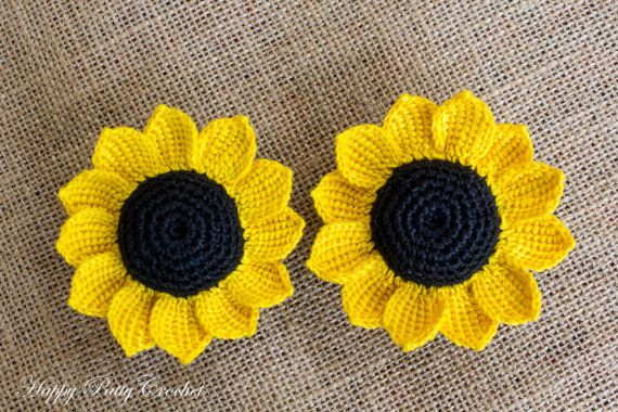 Cartoon Crochet Sunflower Pattern - Three Crochet Flowers Patterns ...