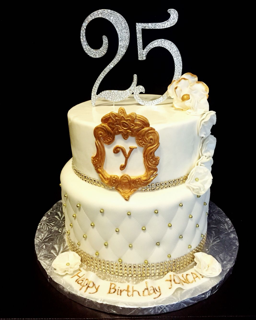 25th Birthday Cake Quilted Fondant With Gold Dragees On Top Is Handmade Frame Inside Decadent Red Velvet Cream Cheese Filling