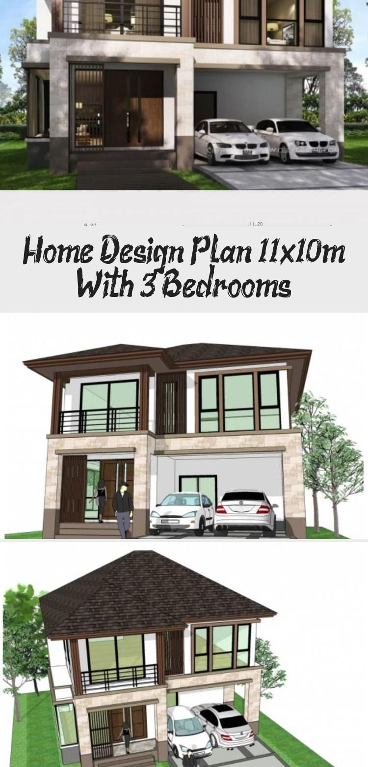 Home design plan 11x10m with 3 bedrooms - Home Ideas #ModernHouseExteriorSketch #ModernHouseExteriorDoor #ModernHouseExteriorWithPool #ModernHouseExteriorSmall #ModernHouseExteriorBeforeAndAfter