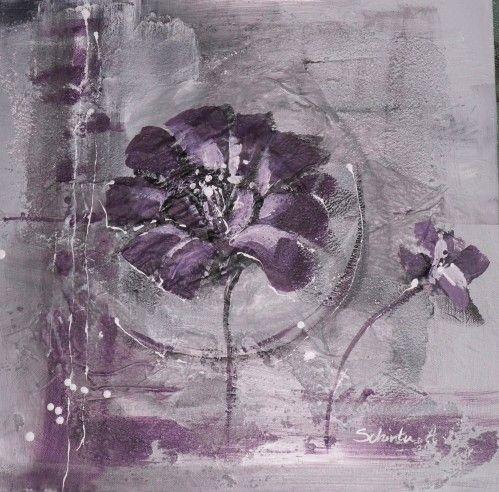 fleurs mauves tableau peinture acrylique fleurs violettes sur fond gris mortier peinture. Black Bedroom Furniture Sets. Home Design Ideas