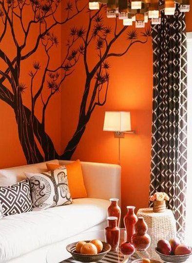 Painted Black Tree Onto Burnt Orange Walls To Transition