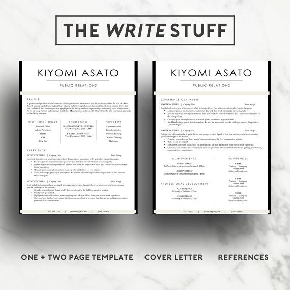 Modern Resume Template for Word (1  2 page resume, cover letter) CV
