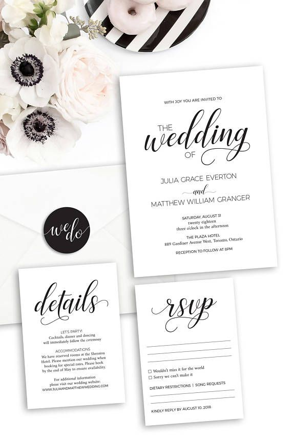 Wedding Invitation Template - Printable Wedding Invitation Suite