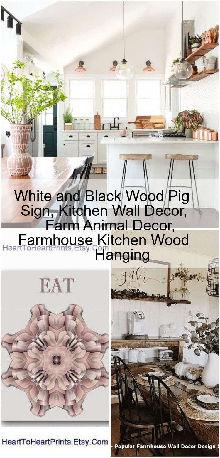 White and Black Wood Pig Sign, Kitchen Wall Decor, Farm Animal ...