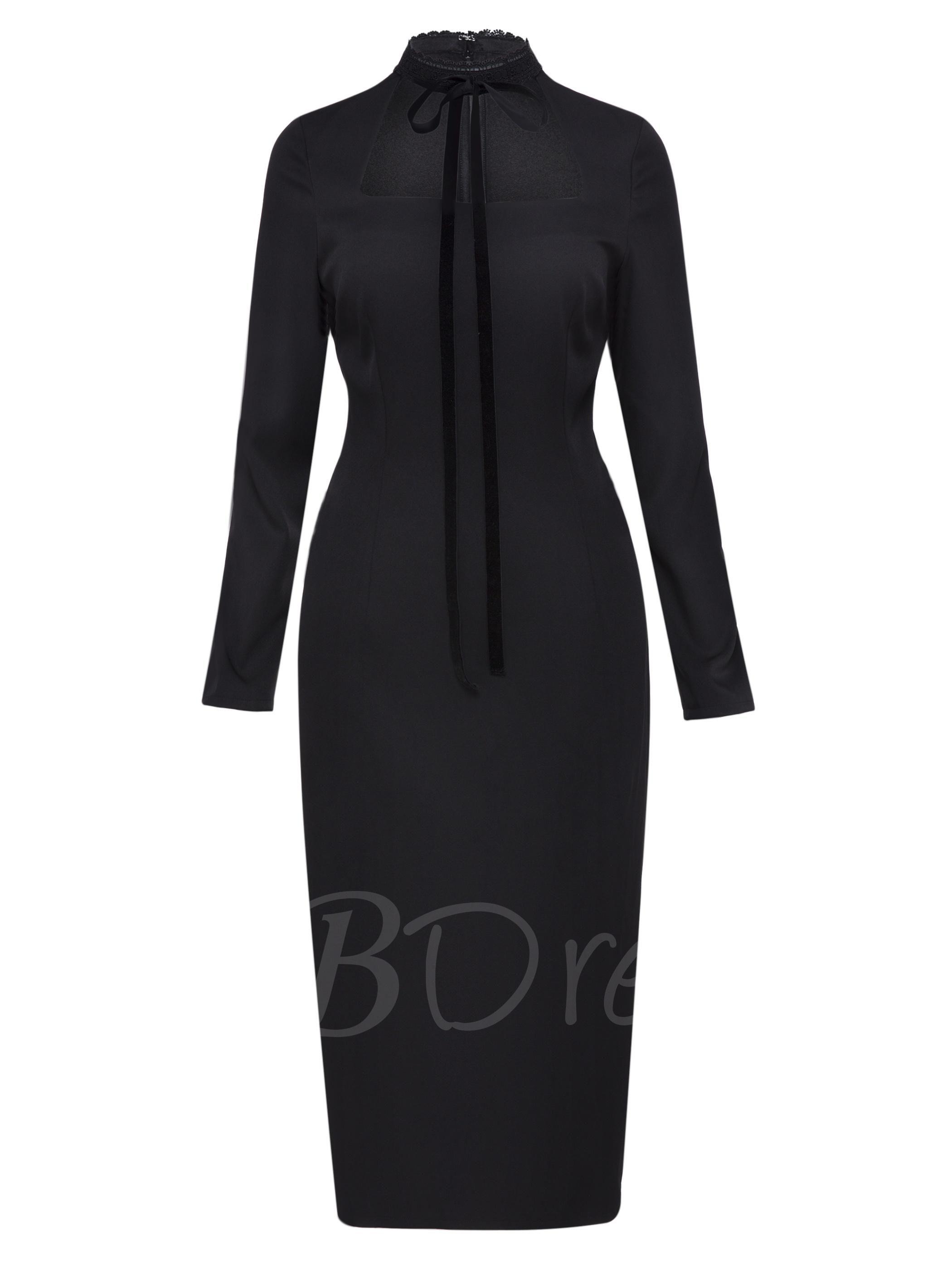 Tbdress tbdress black tie neck long sleeve womens sheath dress