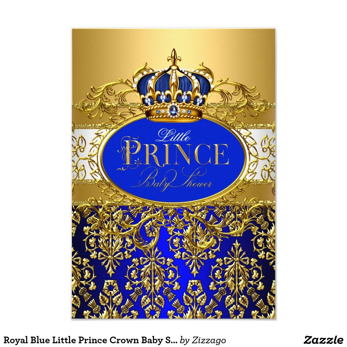 Royal Blue Little Prince Crown Baby Shower Invite | ∆ invitations ...