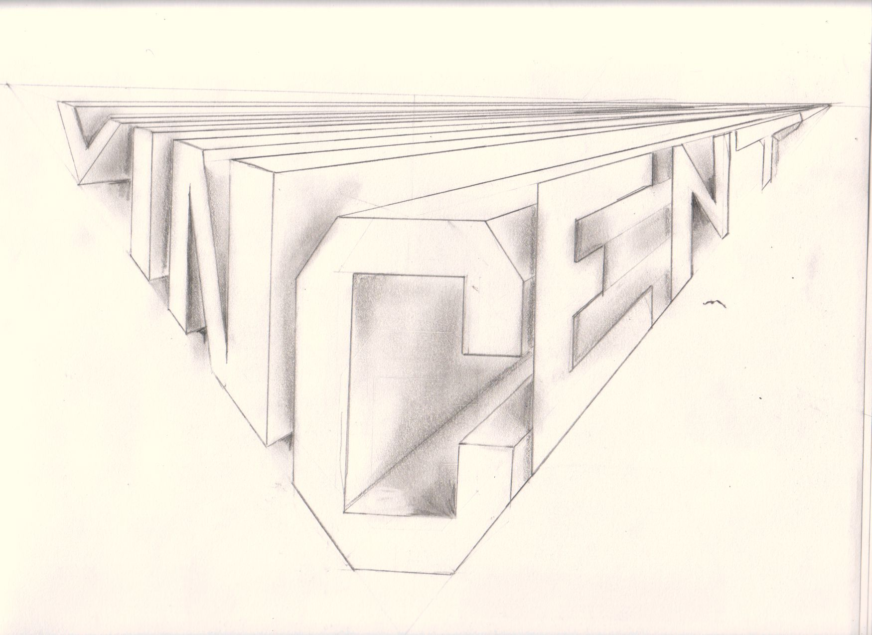 Two Point Perspective Block Letters Vincent Met