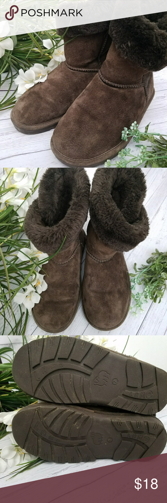 LAMO brown suede fur lined boots size 7 LAMO suede fur lined boots size 7 I cleaned these but they are not in excellent condition. I took pics from all angles, so please zoom in on them to see up close.  Warm and very comfortable.  Great to slip on to walk the dog or run errands.  Non smoking home Lamo Shoes Winter & Rain Boots