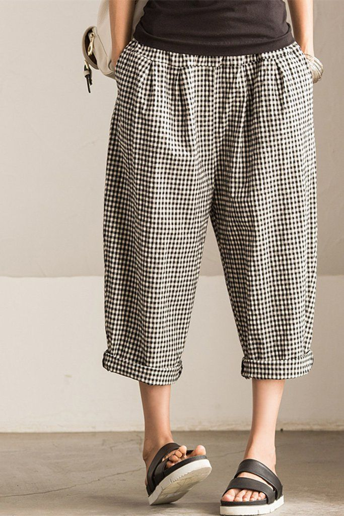 cce93875833 Art Causel Black White Grid Wide-legged Pants Linen Causel Women Clothes  K988A
