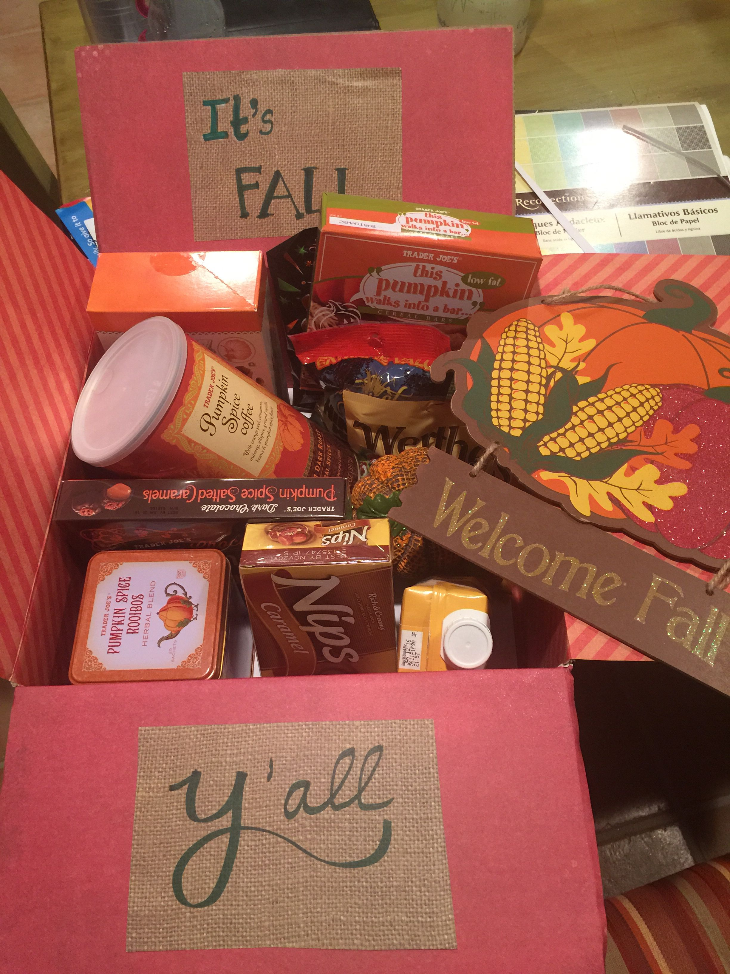 It's fall y'all theme care package.  Deployment.  Overseas.  College