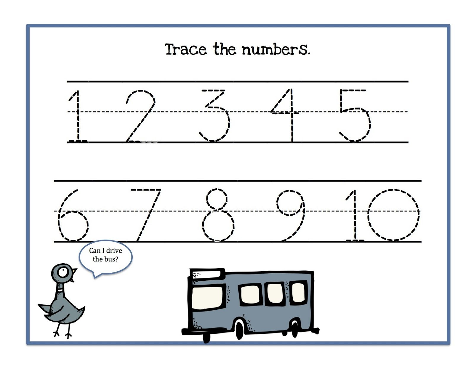 Traceable Numbers 110 For Kindergarten Kids – Numbers 1-10 Worksheets Kindergarten