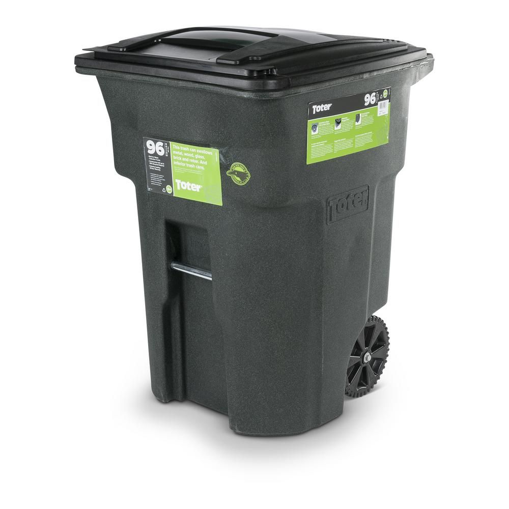 Toter 96 Gal Greenstone Trash Can With Wheels And Attached Lid
