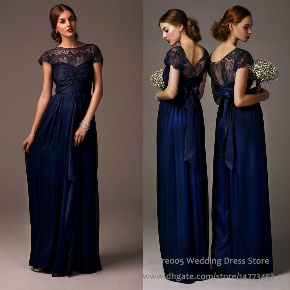2016 lace chiffon navy blue bridesmaid dresses for maid of honor 2016 lace chiffon navy blue bridesmaid dresses for maid of honor cap sleeve long wedding guest dress b2212 ombrellifo Gallery