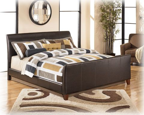 Stanwick Contemporary Brown Faux Leather Pvc King Bed Signature