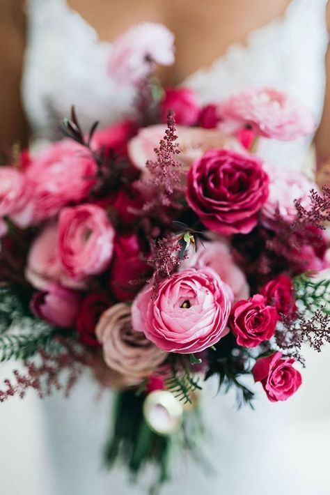 The Coolest Ceremony Aisle Meets 50 Shades of Pink | Flower bouquets ...