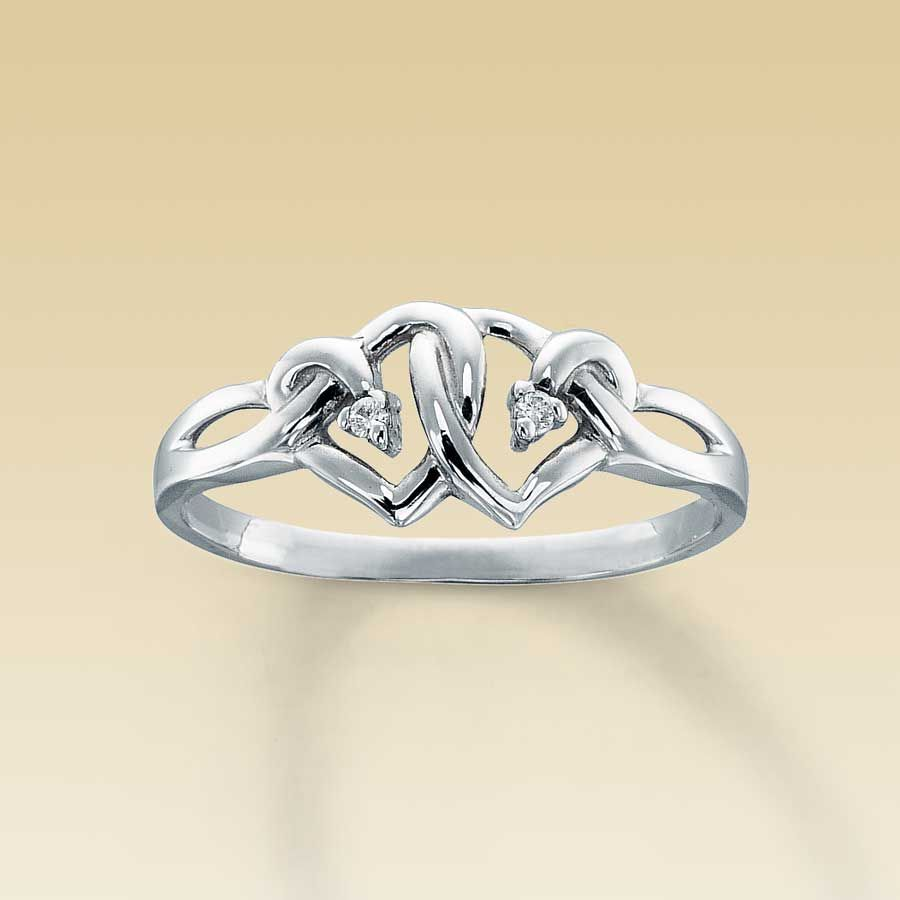 Heart Rings For Girlfriend Diamond heart promise ring Promise