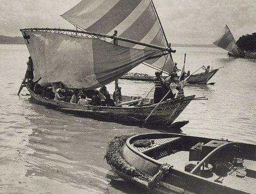 Untitled (Native boats, Fijian Islands) by Henri Mallard, 1940s