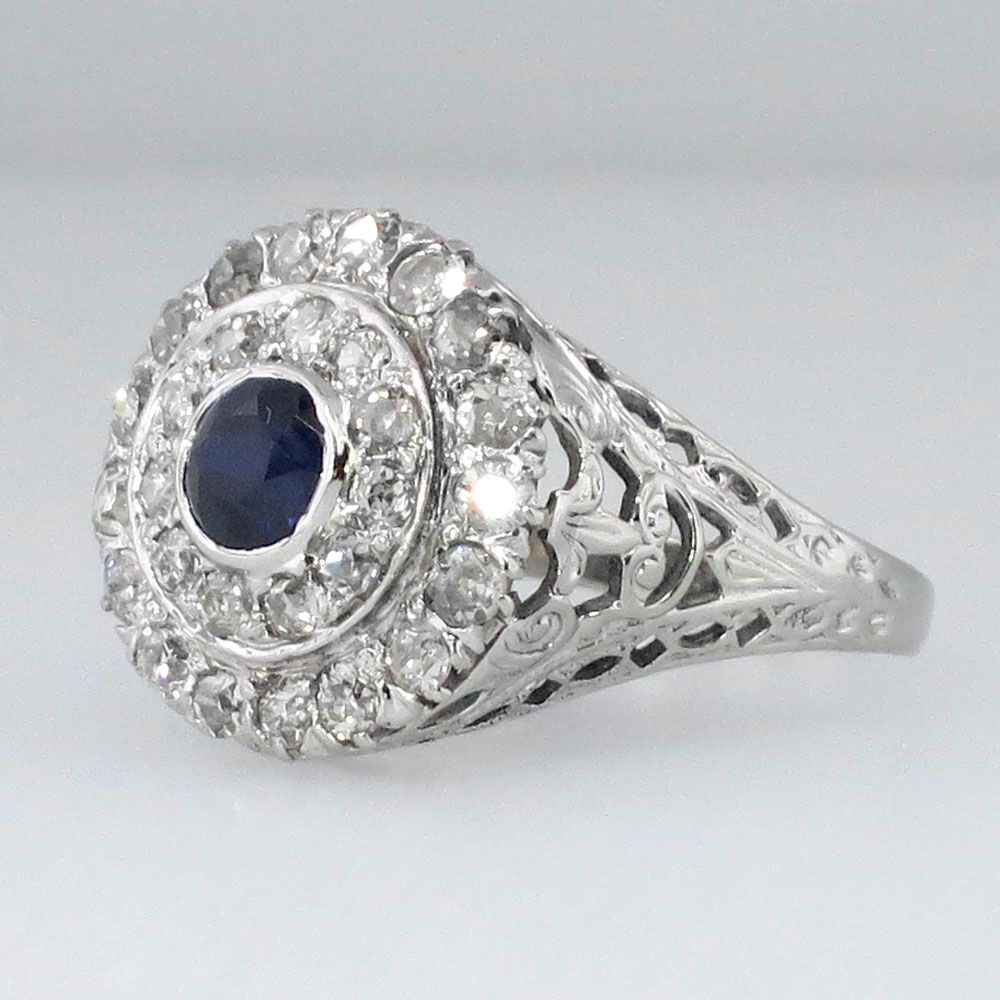 Round Sapphire & Double Row Old Mine Cut Diamond Ring 14k ; 1920s