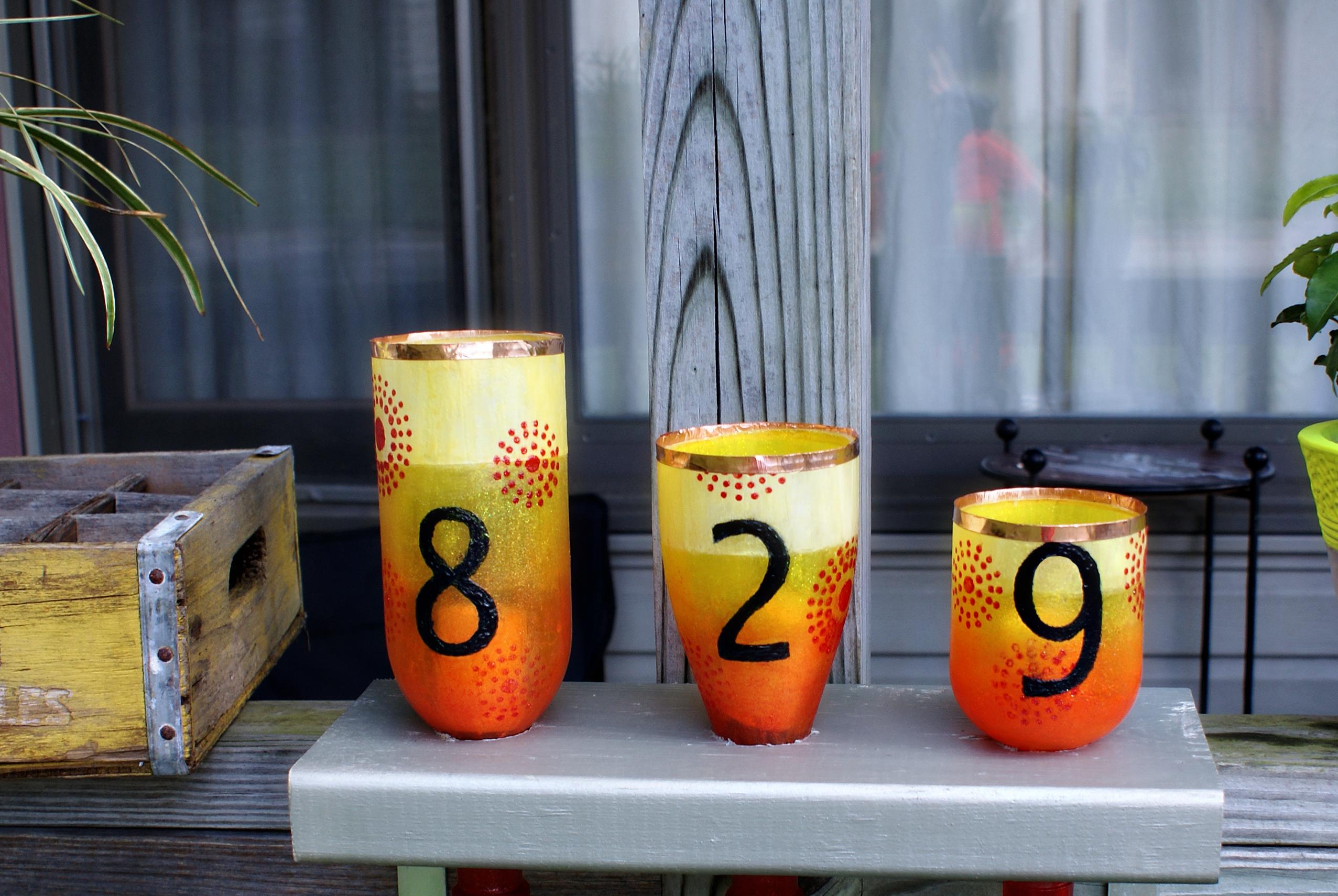 DIY Wine Bottle Address Lanterns- Saved by Love Creations- DecoArt Americana Crystal Gloss Enamels GLITTER
