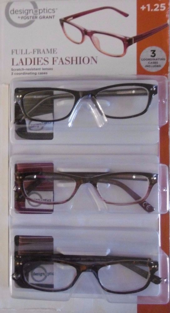 47d17294f743 DESIGN OPTICS 3-PACK +1.25 LADIES FASHION FULL FRAME READING GLASSES CASES  B52-8  DESIGNOPTICSbyFOSTERGRANT