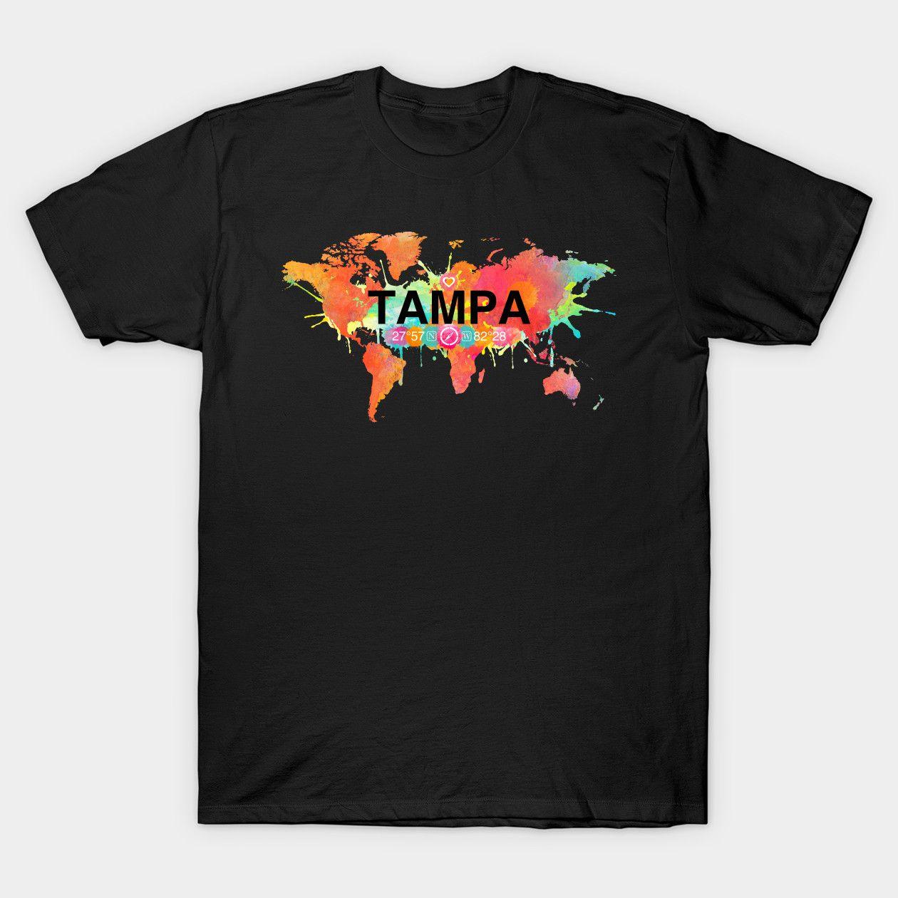 Vivid Watercolor Tampa Florida Map Tampa Florida Map Classic T