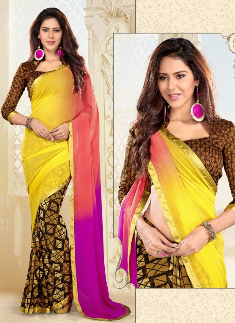 Saree blouse designs astounding hot pink and yellow georgette trendy saree  sensual