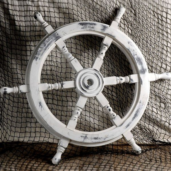 Bring A Vintage Touch To Your Nautical Home Or Office With This Wooden Helm The White Washed Ship Steering Wheel Is Perfect Accent Pie