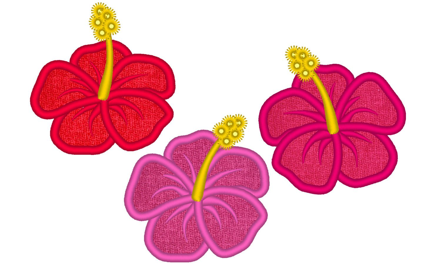 Hibiscus flowers set 3 types hawaii summer flower embroidery