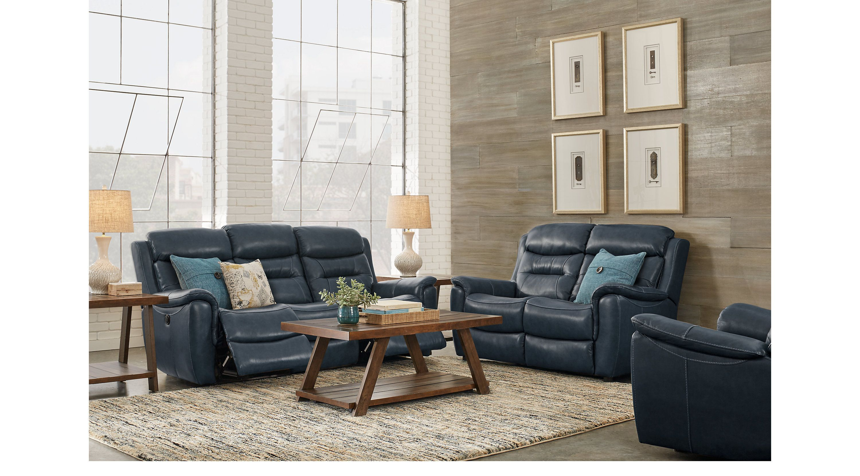 Sabella Navy Leather 3 Pc Living Room With Reclining Sofa Living